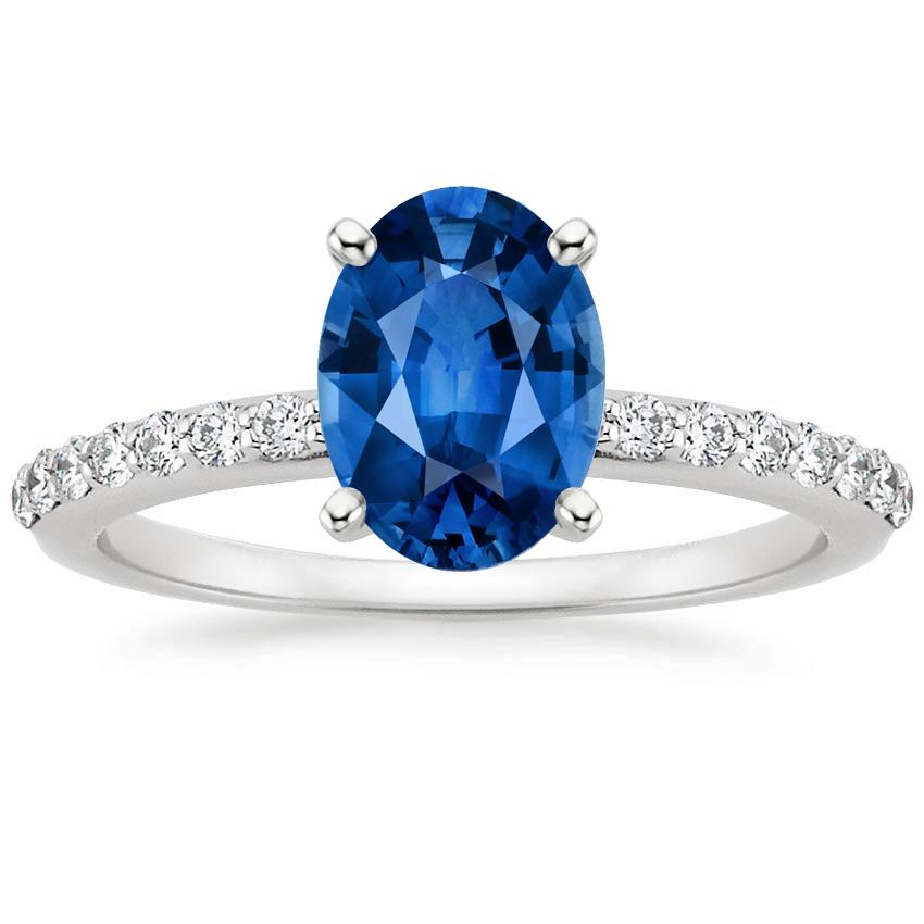 18K White Gold Sapphire Petite Shared Prong Diamond Ring, top view