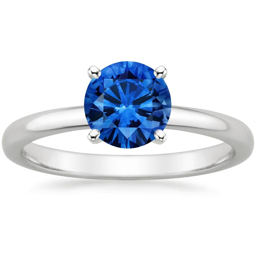 18K White Gold Sapphire 2mm Comfort Fit Ring, top view