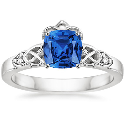 sapphire celtic claddagh ring in platinum 6x6mm cushion
