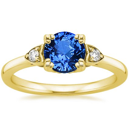18K Yellow Gold Sapphire Aria Diamond Ring, top view