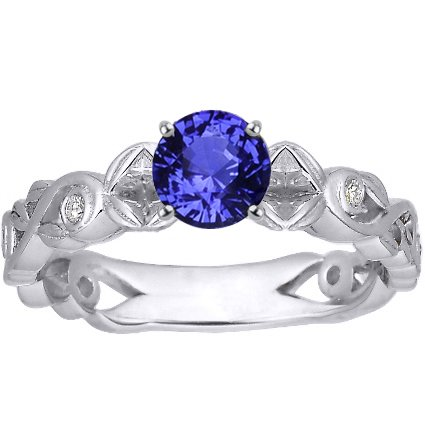 18K White Gold Sapphire Forever Spring Ring, top view