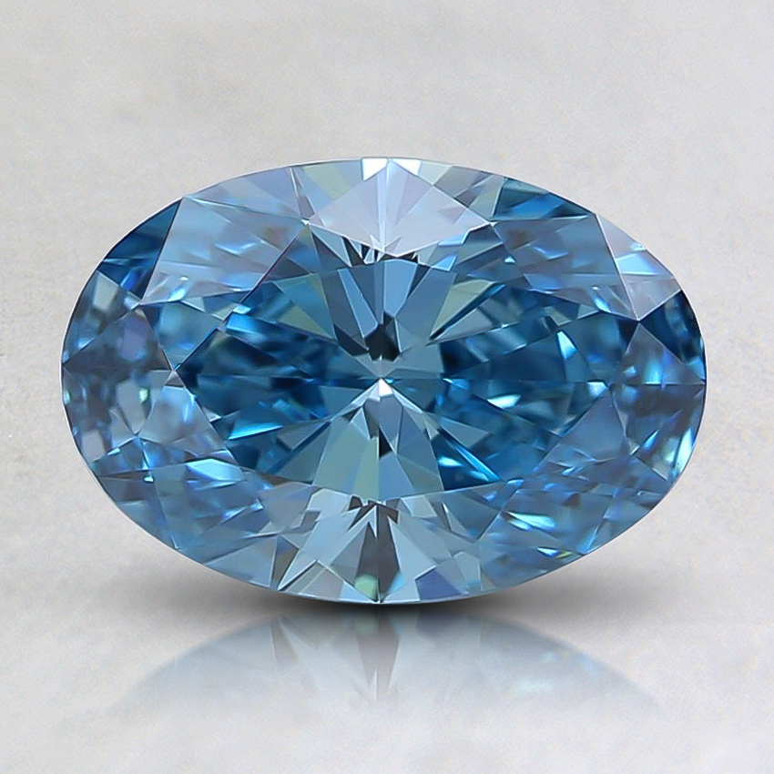 1.10 Ct. Fancy Vivid Greenish Blue Oval Lab Created Diamond