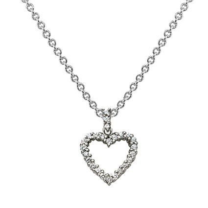 18K White Gold Heart Diamond Pendant (1/3 ct. tw.), top view