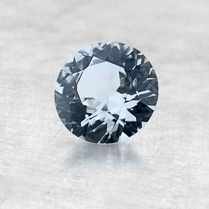 7.7mm White Round Sapphire, top view