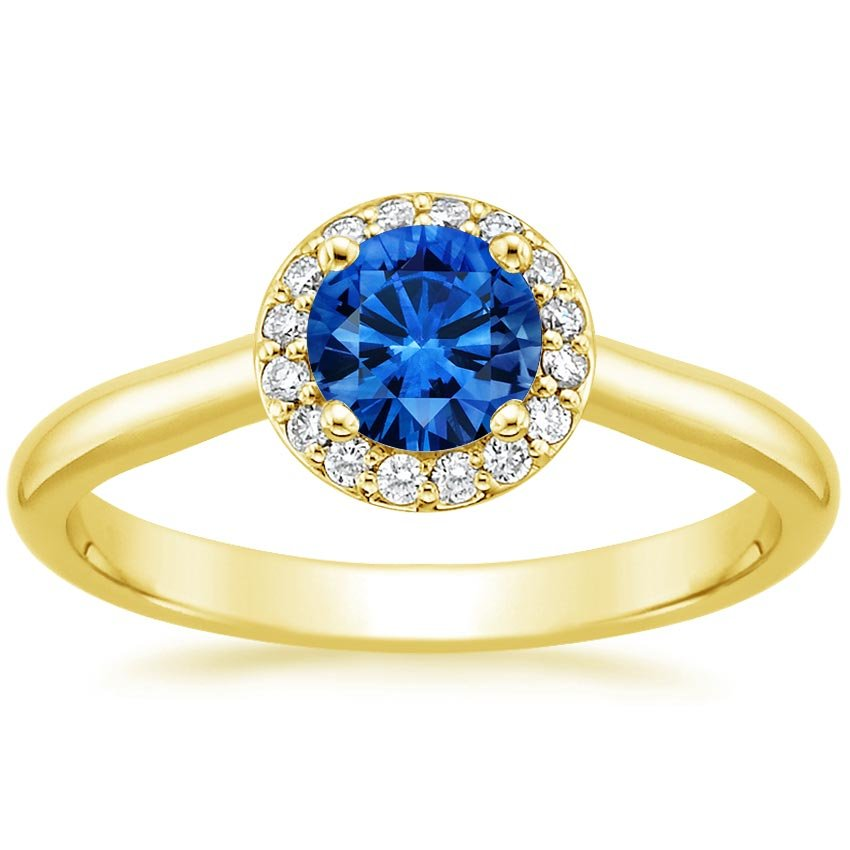 18K Yellow Gold Sapphire Halo Diamond Ring, top view