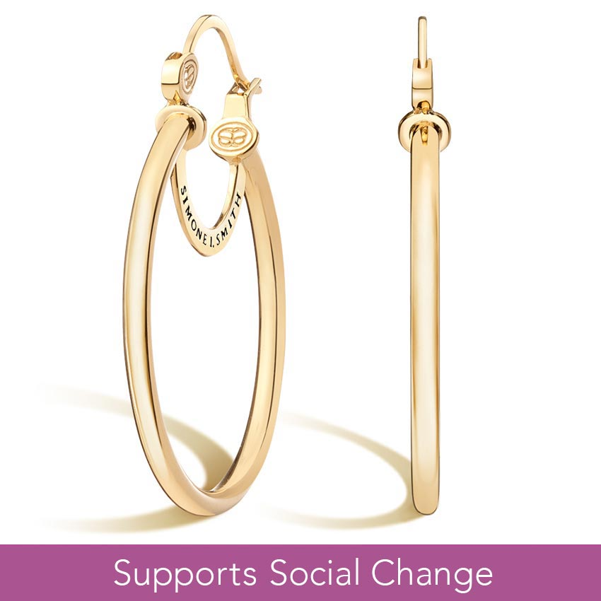 Simone I. Smith Signature Medium Hoop Earrings in 14K Yellow Gold Vermeil