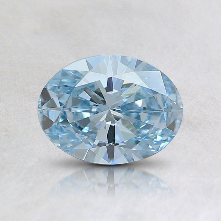 0.60 Ct. Fancy Intense Greenish Blue Oval Lab Created Diamond
