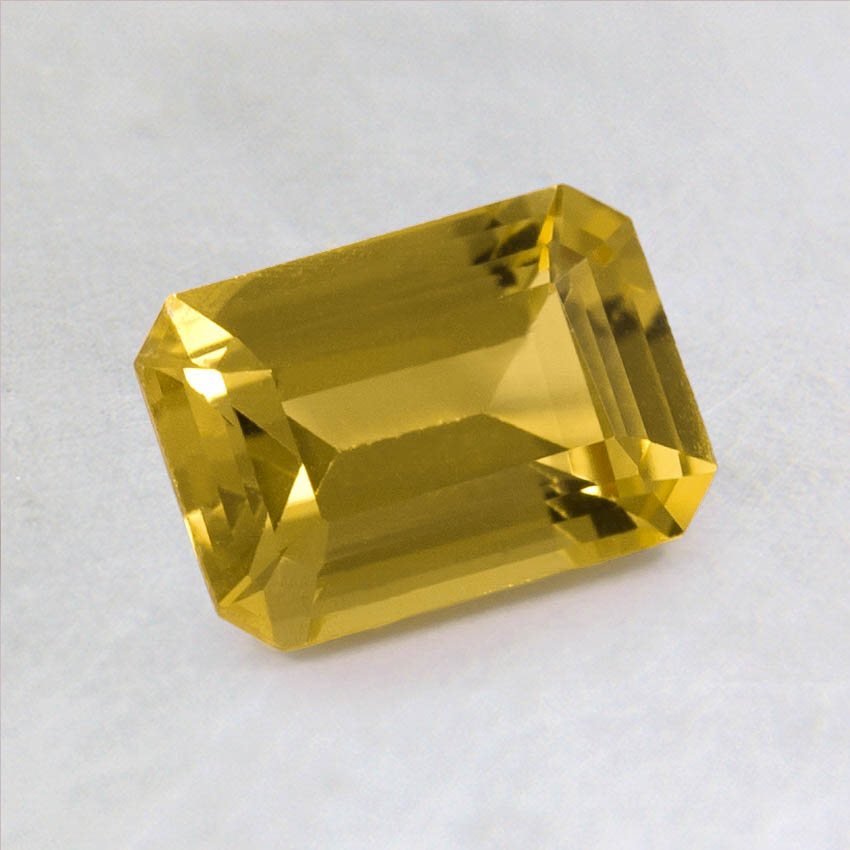 7x5mm Premium Yellow Emerald Cut Sapphire, top view