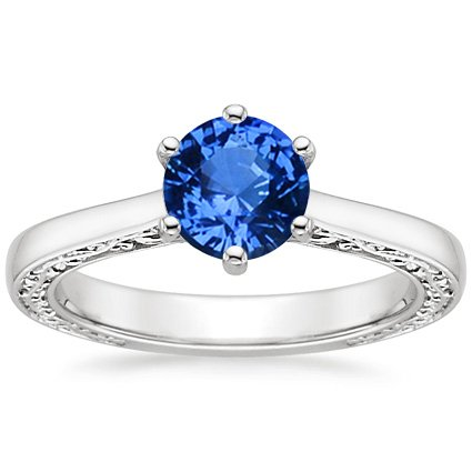 Sapphire Secret Garden Ring in 18K White Gold with 6mm Round Blue Sapphire