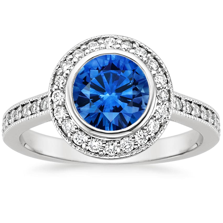 Sapphire Round Bezel Halo Diamond Ring with Side Stones in 18K White Gold with 6.5mm Round Blue Sapphire