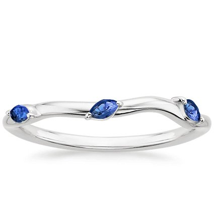 18K White Gold Willow Contoured Ring With Sapphire Accents, top view