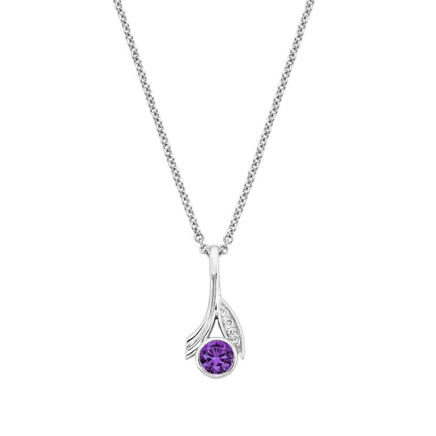Top Twenty Gifts - SILVER JASMINE AMETHYST AND DIAMOND PENDANT
