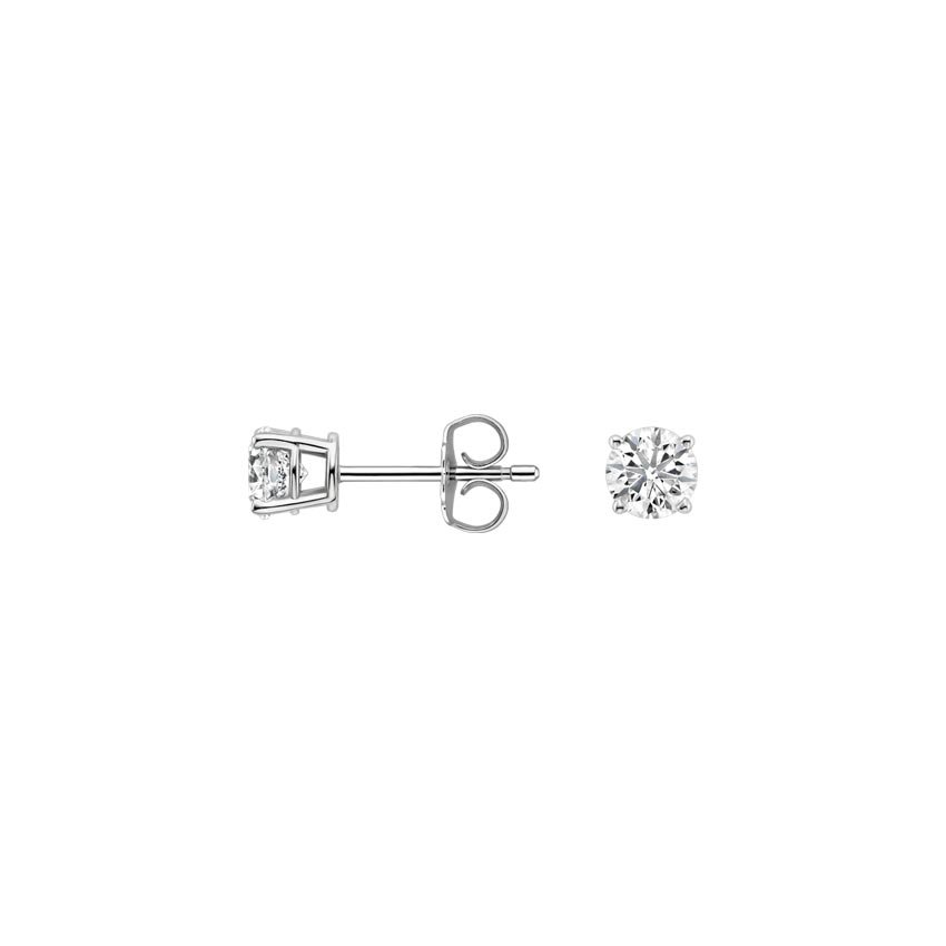 18K White Gold Round Diamond Stud Earrings (1/5 ct. tw.), top view