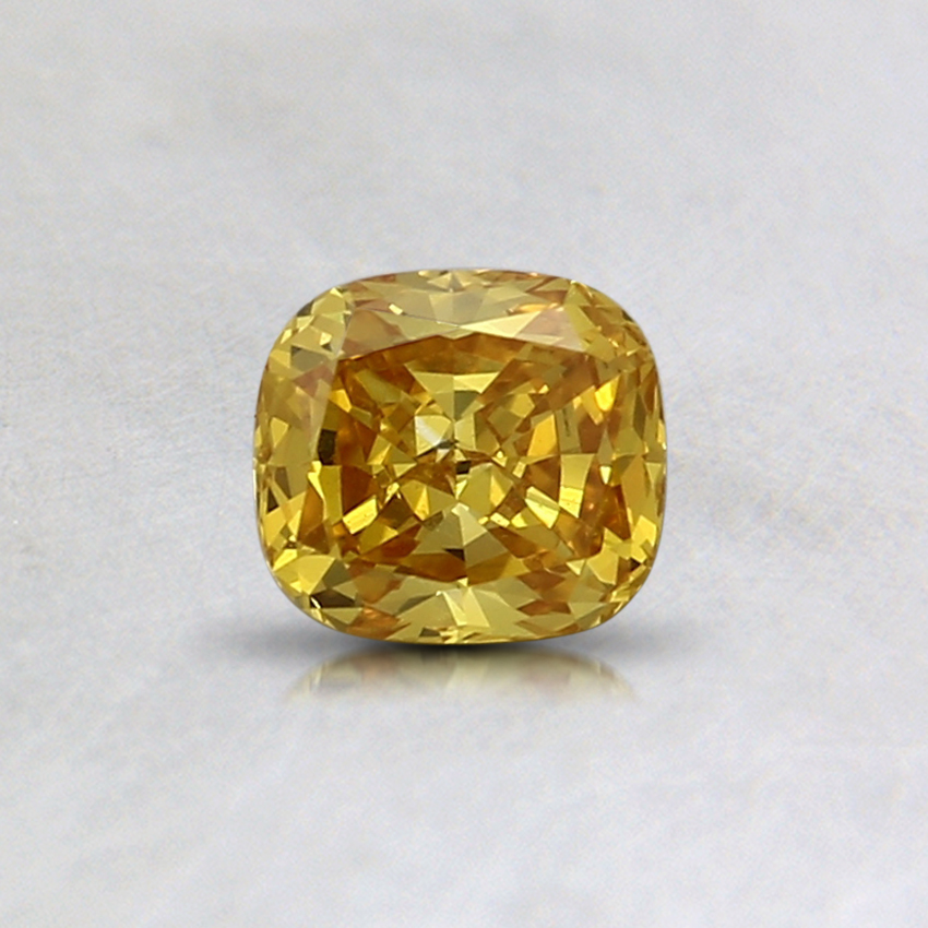 0.39 Ct. Fancy Vivid Yellow Cushion Lab Created Diamond