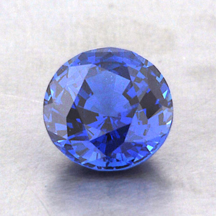 6.5mm Lab Created Blue Round Sapphire, top view