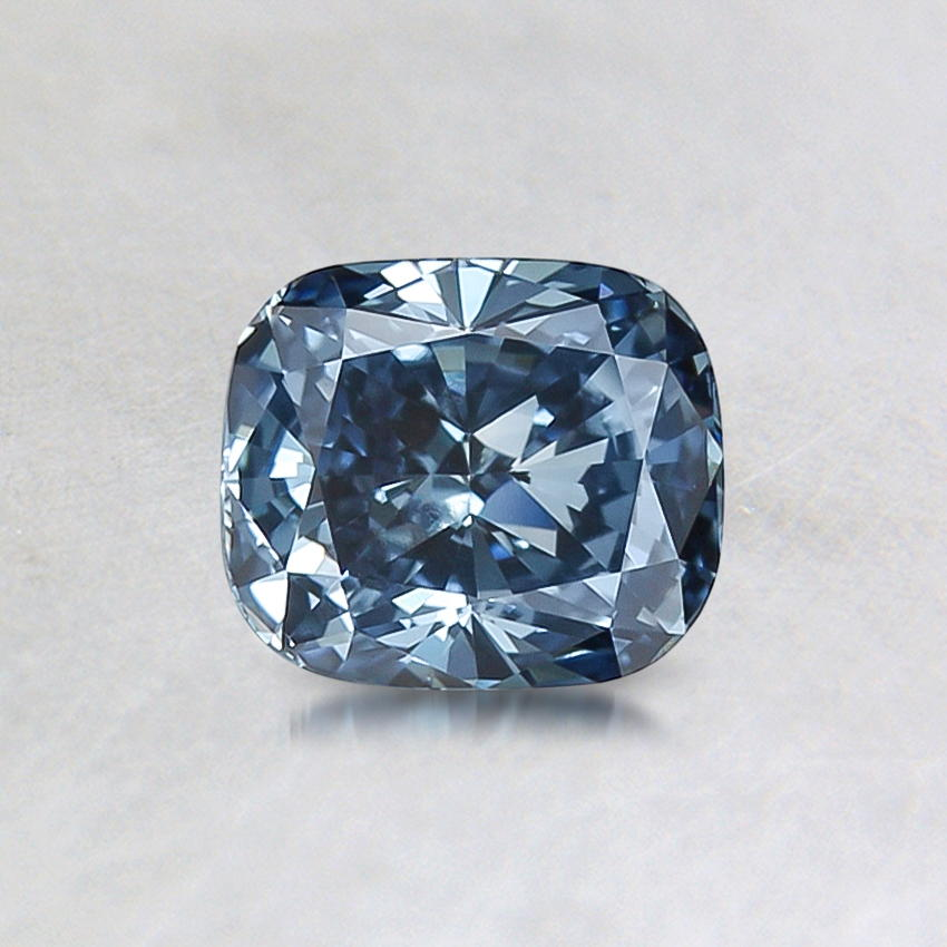 0.69 ct. Lab Created Fancy Vivid Blue Cushion Diamond, top view