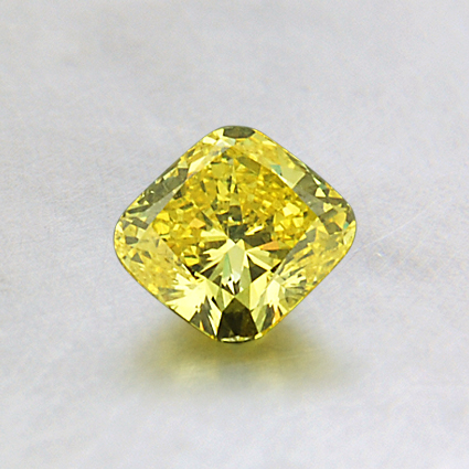 5.45 mm Lab Created Yellow Cushion Diamond, top view