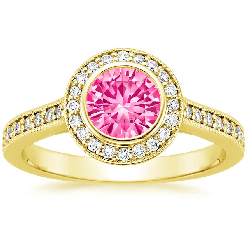 Sapphire Round Bezel Halo Diamond Ring with Side Stones in 18K Yellow Gold with 6mm Round Pink Sapphire