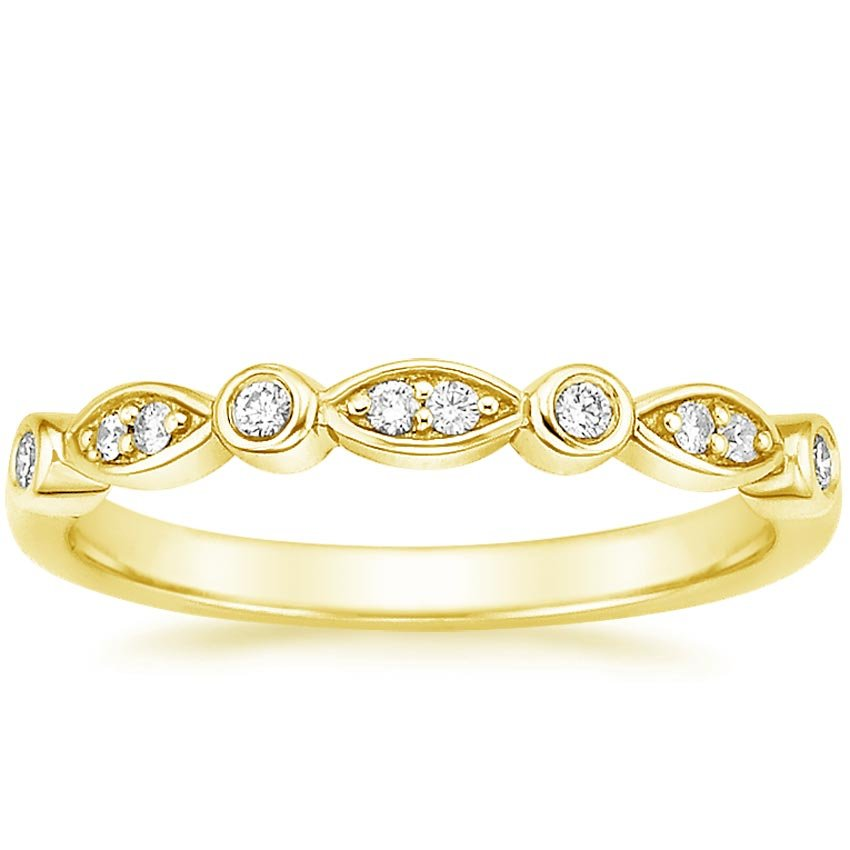 18K Yellow Gold Coronet Diamond Ring, top view