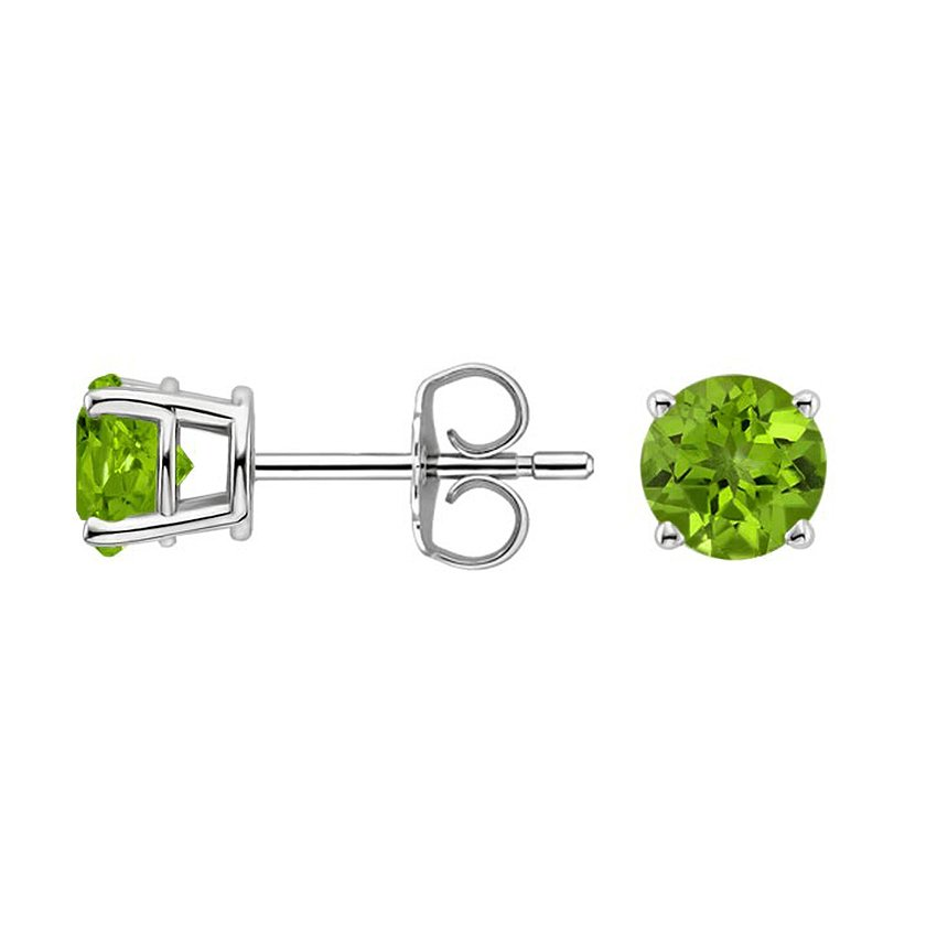 Silver Peridot Stud Earrings (6mm), top view