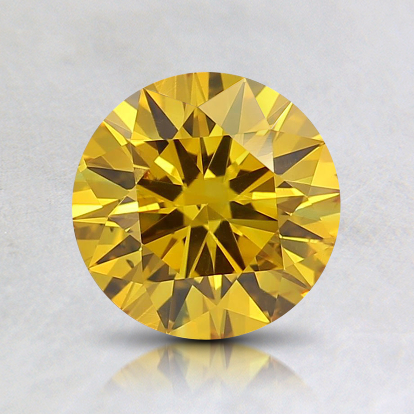 0.98 Ct. Fancy Deep Orangy Yellow Round Lab Created Diamond