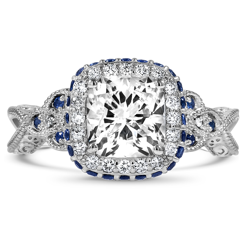 Custom Vintage-Inspired Sapphire Halo Diamond Ring