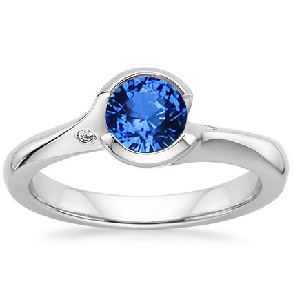 Sapphire Cascade Ring with Diamond Accents in 18K White Gold with 5.5mm Round Blue Sapphire