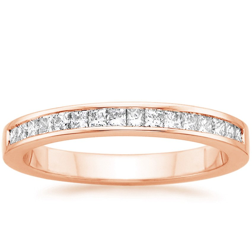 14K Rose Gold Petite Channel Set Princess Diamond Ring, top view