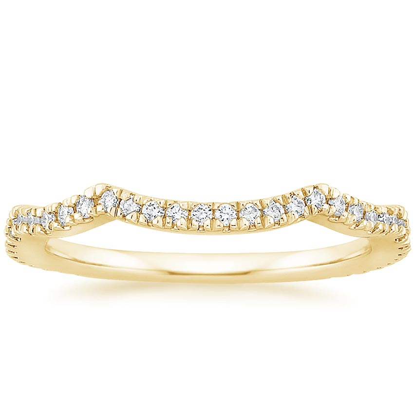 Yellow Gold Petite Twisted Vine Contoured Diamond Ring (1/5 ct. tw.)