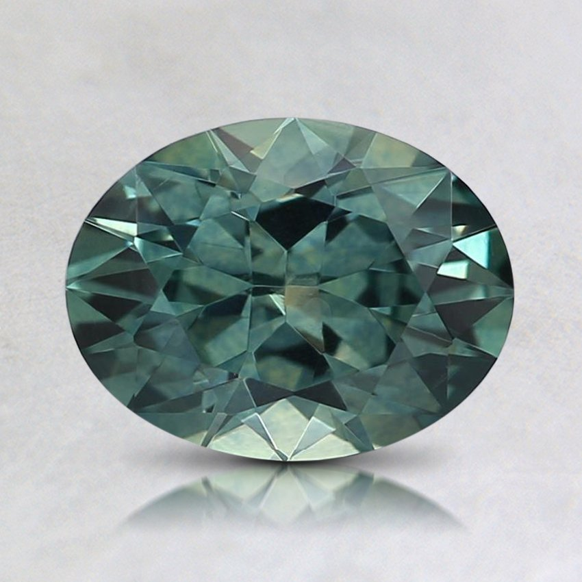 7.9X6mm Montana Teal Oval Sapphire, top view