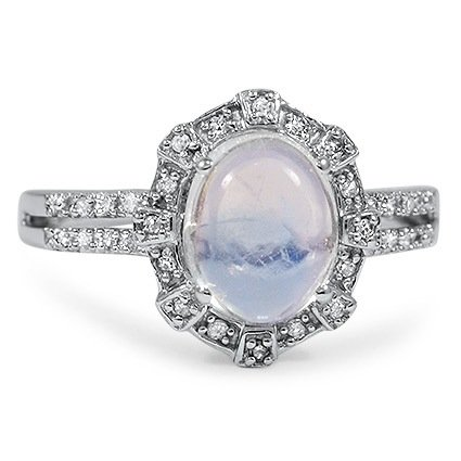 Modern Moonstone Vintage Ring Raina Brilliant Earth