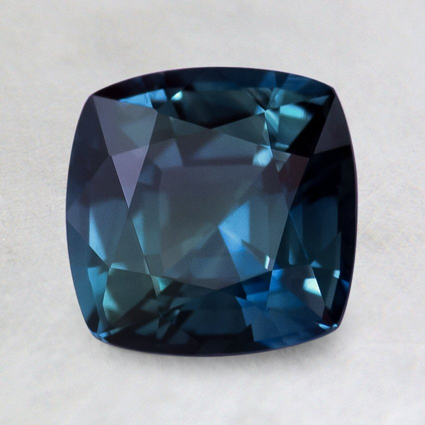 7mm Super Premium Teal Cushion Sapphire, top view
