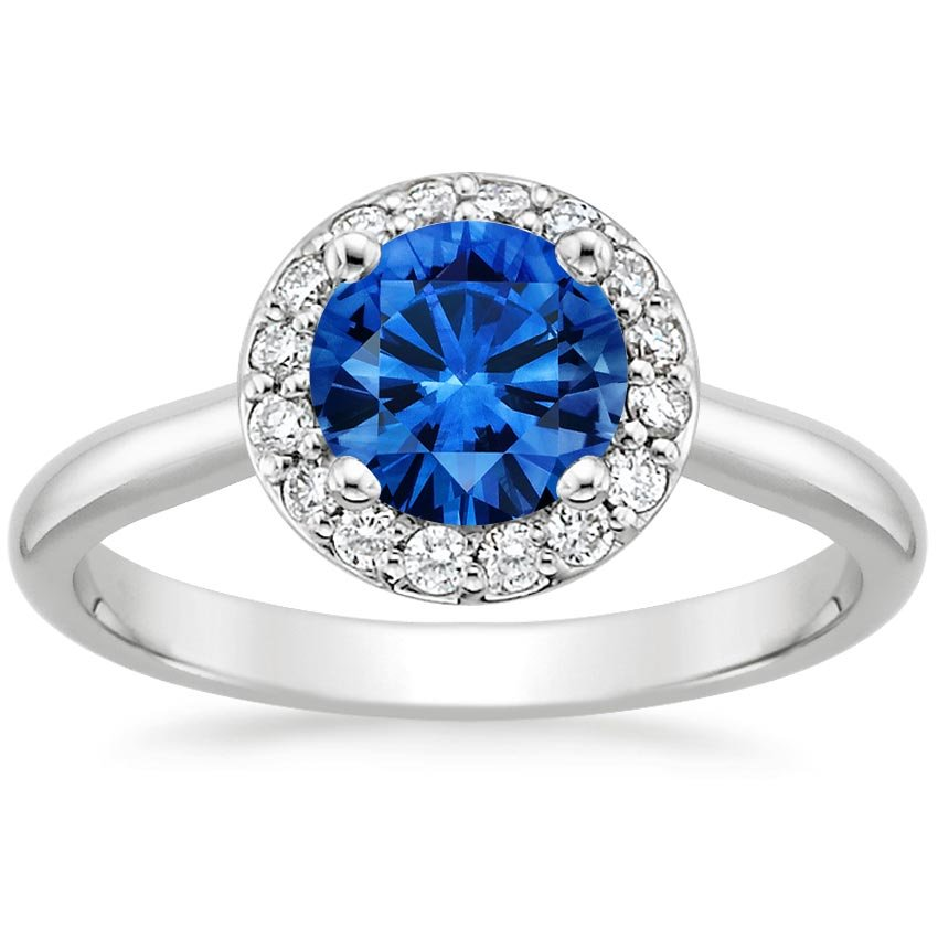 18K White Gold Sapphire Halo Diamond Ring, top view