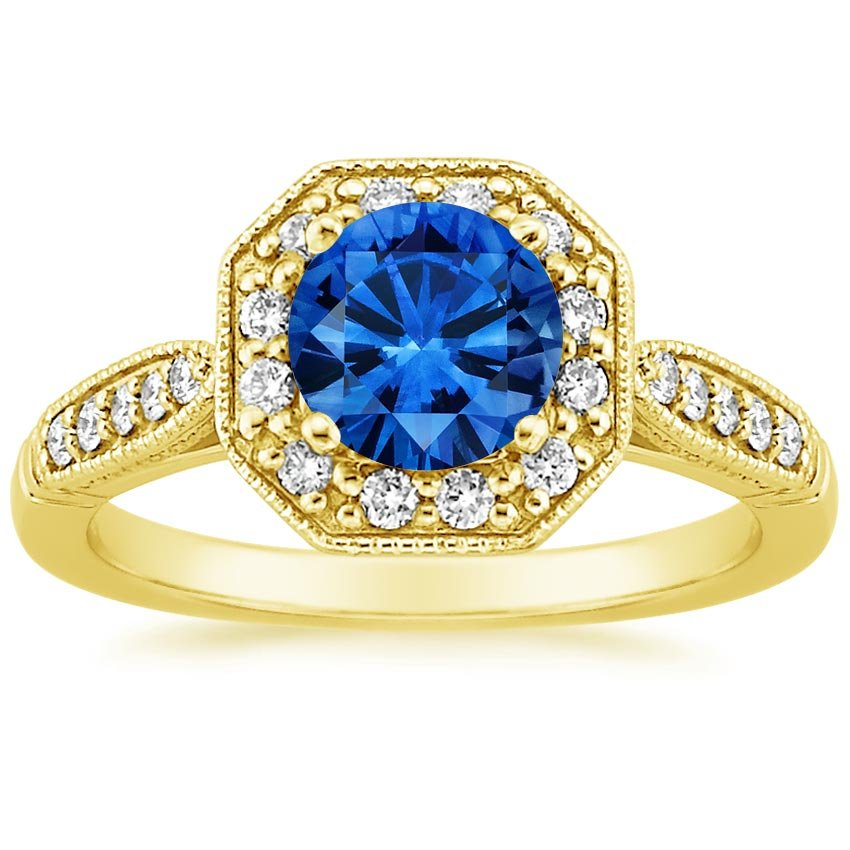 Sapphire Victorian Halo Diamond Ring in 18K Yellow Gold with 6.5mm Round Blue Sapphire
