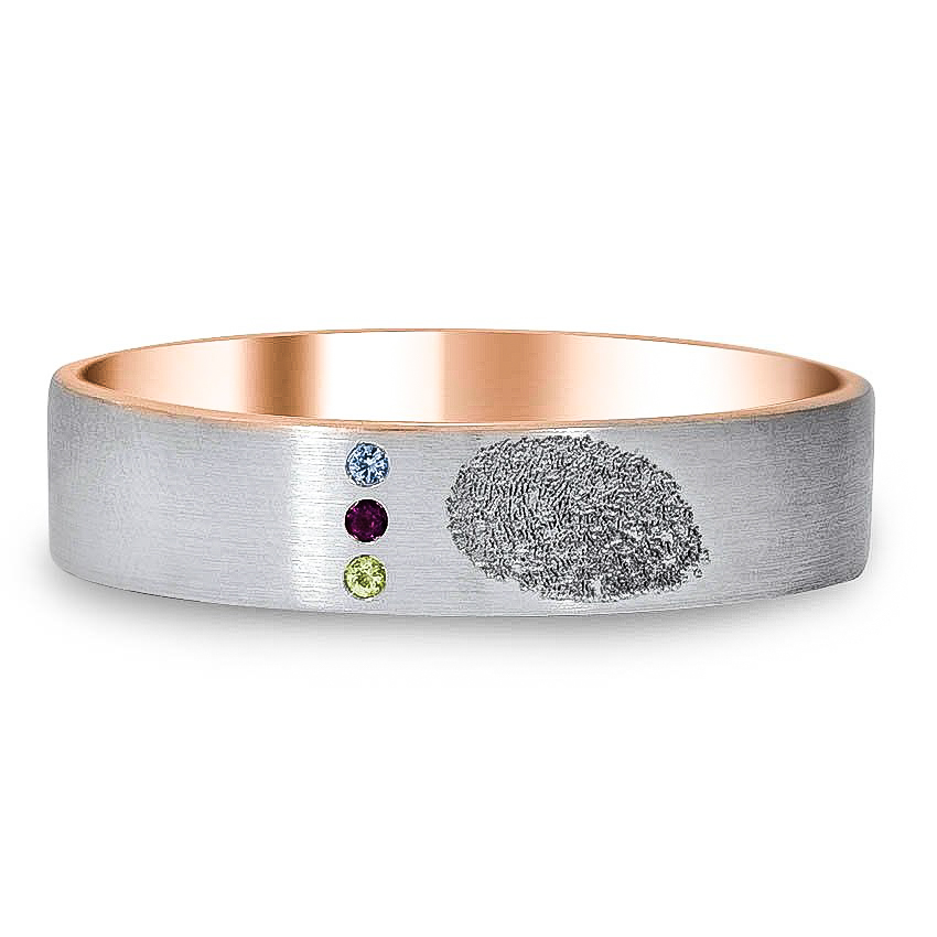 Custom Two Tone Fingerprint and Birthstone Ring