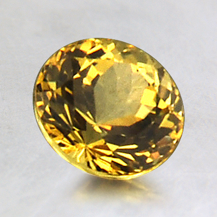 6.6mm Yellow Round Sapphire, top view