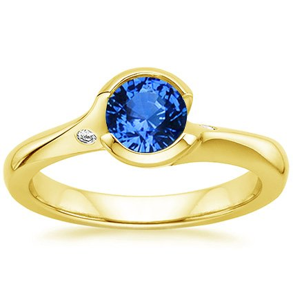 Sapphire Cascade Ring with Diamond Accents in 18K Yellow Gold with 5.5mm Round Blue Sapphire