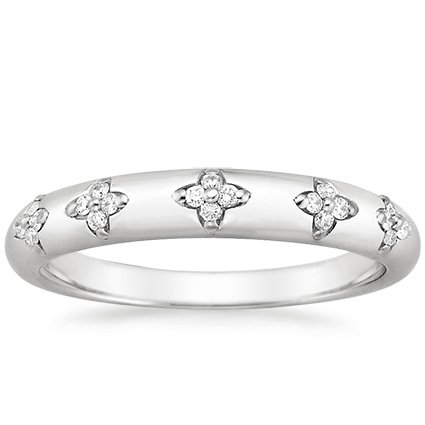 18K White Gold Blossom Ring, top view