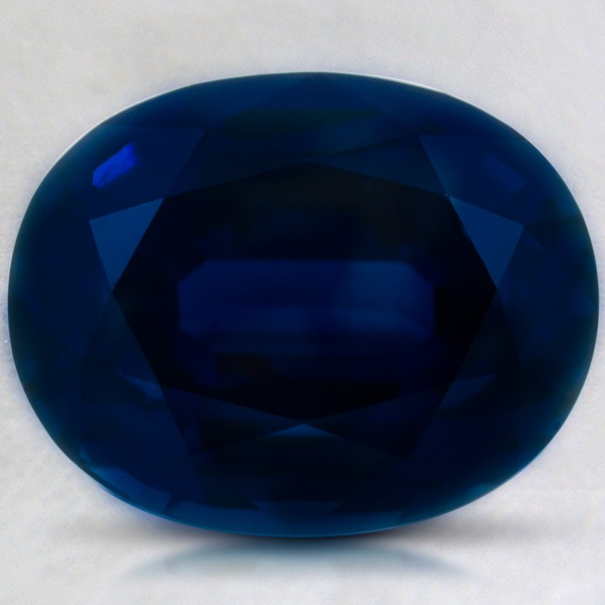 13.2x10.4mm Super Premium Blue Oval Sapphire, top view