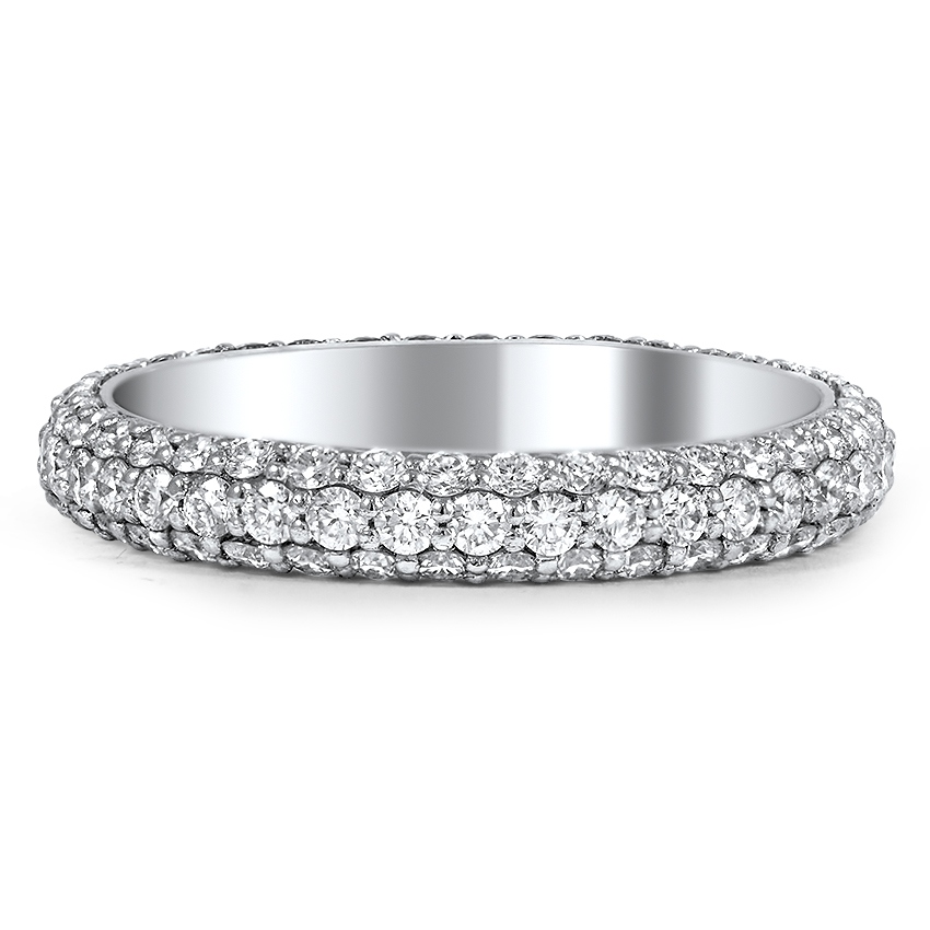 Custom Three Sided Pave Diamond Wedding Band