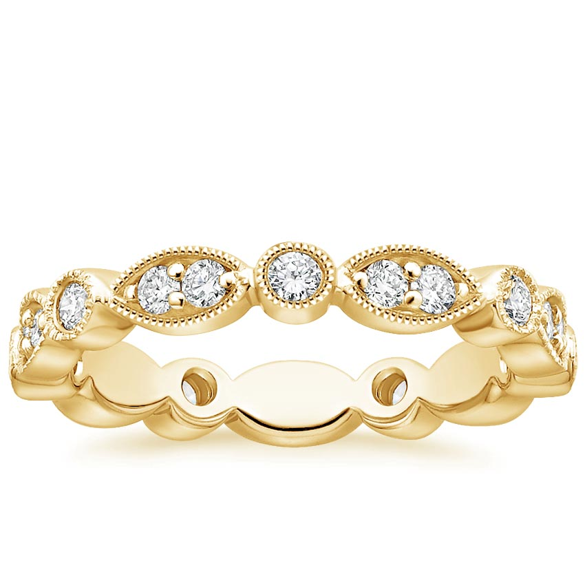 Yellow Gold Luxe Marquise and Dot Diamond Ring