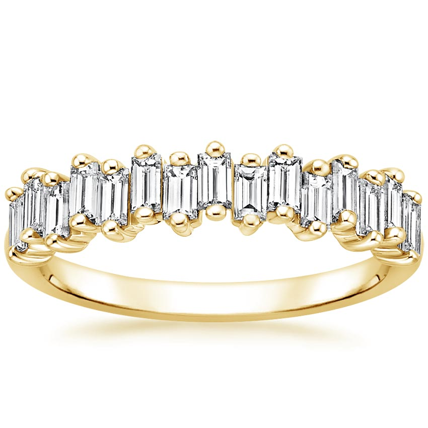 Yellow Gold Alternating Baguette Diamond Ring