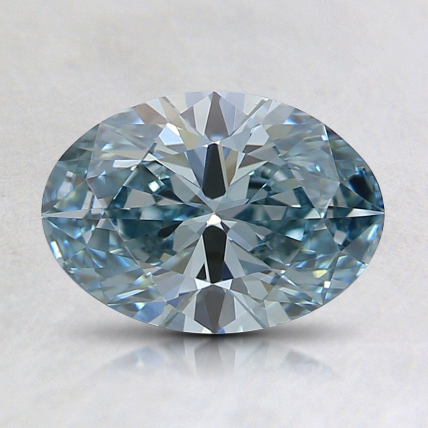 1.01 Ct. Fancy Intense Blue-Green Oval Lab Created Diamond