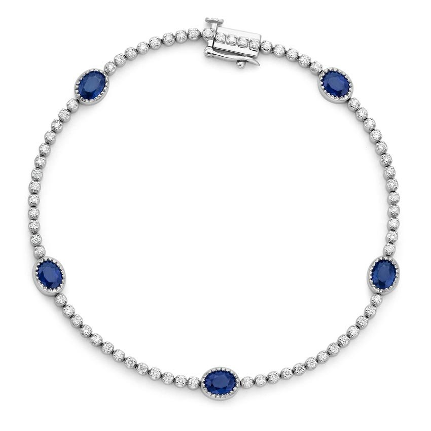 18k white gold sapphire and bracelet 3 4 ct