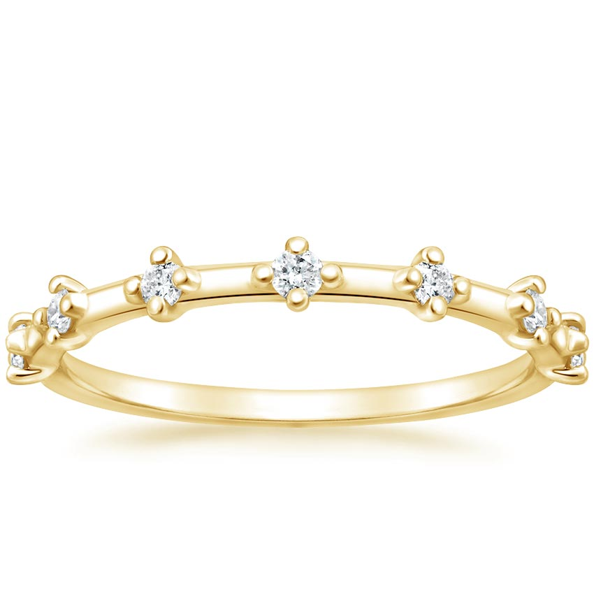 Yellow Gold Spaced Diamonds Wedding Ring