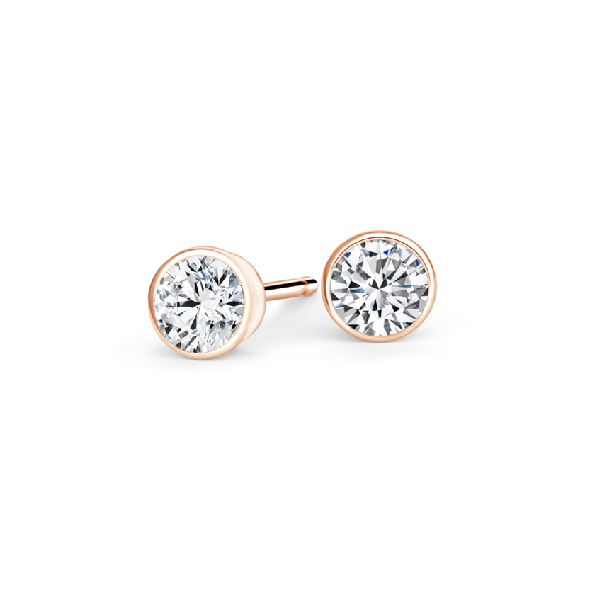 14K Rose Gold Bezel-Set Round Diamond Stud Earrings, top view