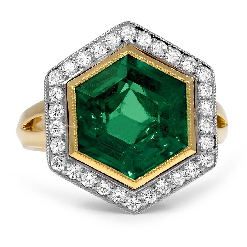 Top Twenty Custom Rings - MIXED METAL HEXAGONAL EMERALD HALO RING