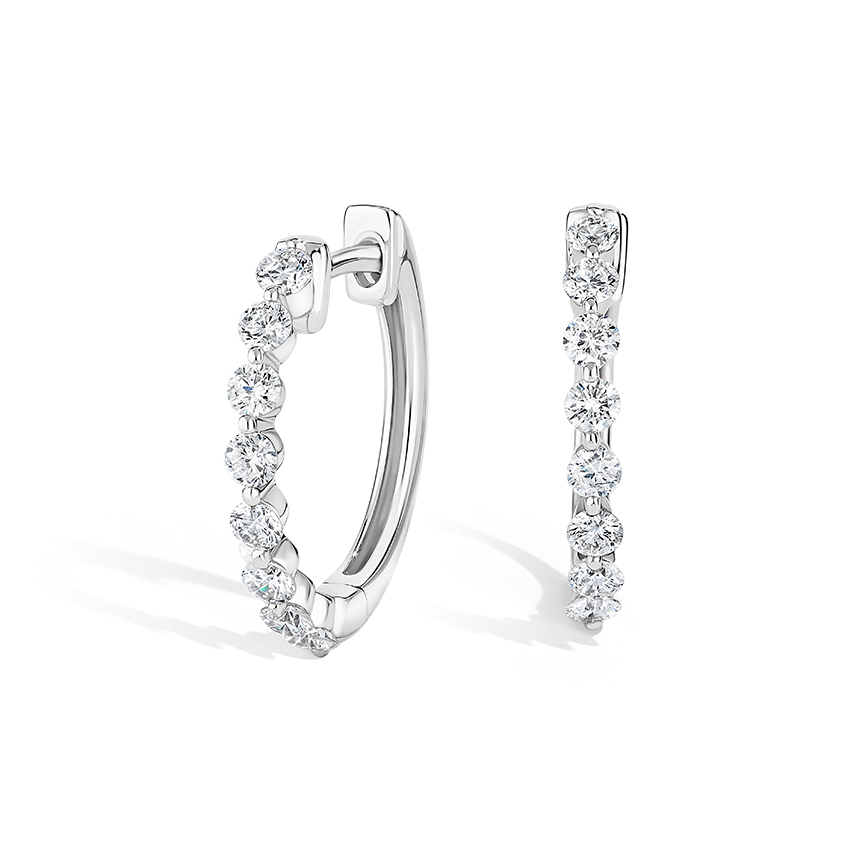 Shared Prong Diamond Hoops