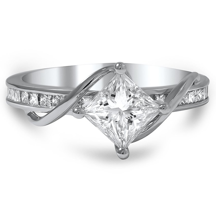 Custom Compass Point Princess Diamond Ring