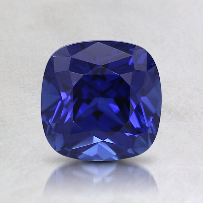 6mm Lab Created Blue Cushion Sapphire, top view